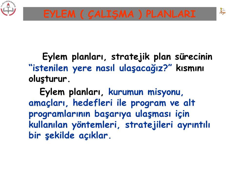 """EYLEM ( ÇALIŞMA ) PLANLARI Eylem planları, stratejik plan sürecinin """"istenilen yere nasıl ulaşacağız?"""" kısmını oluşturur. Eylem planları, kurumun misy"""