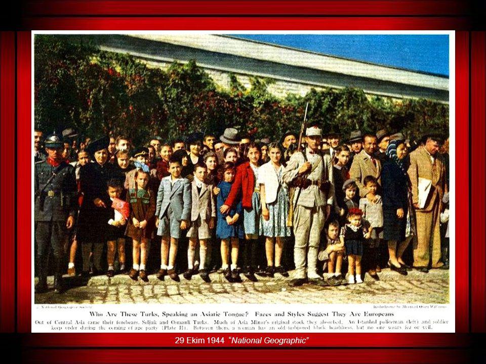 Aşağıda göreceğiniz görsel belge 29 Ekim 1944'de National Geographic dergisinde yayımlanmış, Cumhuriyet Bayramı kutlamalarında çekilmiş bir fotoğraf v