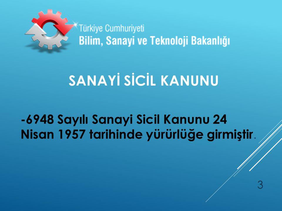 SANAYİ SİCİL KANUNU -6948 Sayılı Sanayi Sicil Kanunu 24 Nisan 1957 tarihinde yürürlüğe girmiştir. 3