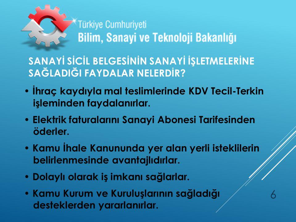 SANAYİ SİCİL BAŞVURU/KAYIT EVRAKLARI NELERDİR.
