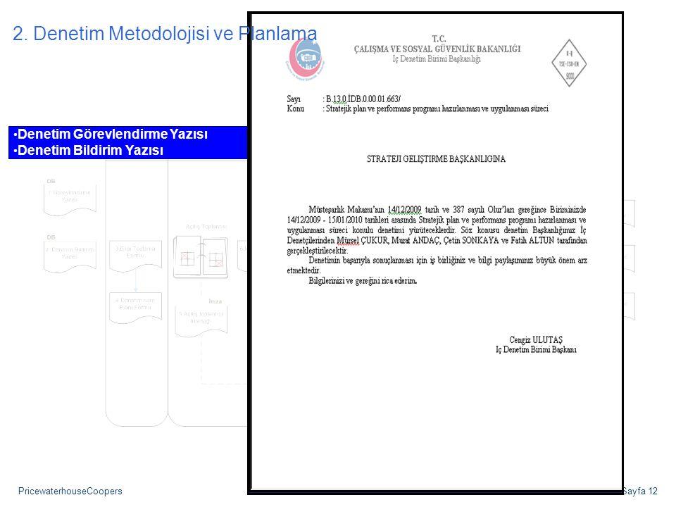 PricewaterhouseCoopersSayfa 12 Denetim Görevlendirme Yazısı Denetim Bildirim Yazısı 2. Denetim Metodolojisi ve Planlama