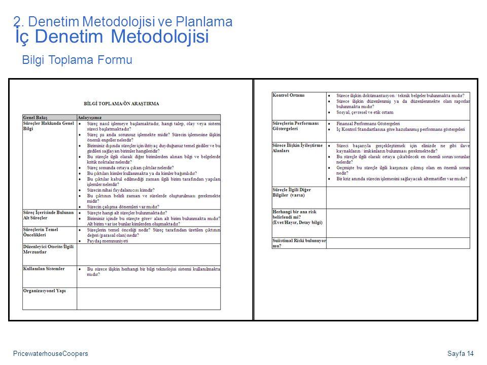 PricewaterhouseCoopersSayfa 14 İç Denetim Metodolojisi Bilgi Toplama Formu 2. Denetim Metodolojisi ve Planlama