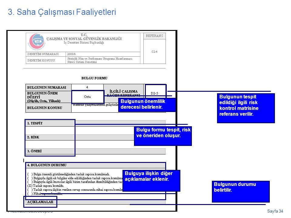 PricewaterhouseCoopersSayfa 34 Bulgu Formu Bulgunun tespit edildiği ilgili risk kontrol matrisine referans verilir. Bulgunun önemlilik derecesi belirl