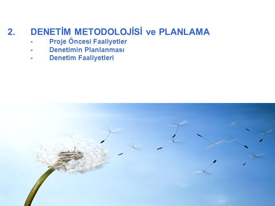 2.DENETİM METODOLOJİSİ ve PLANLAMA -Proje Öncesi Faaliyetler -Denetimin Planlanması -Denetim Faaliyetleri