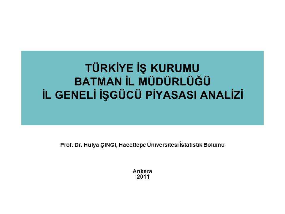 TÜRKİYE İŞ KURUMU BATMAN İL MÜDÜRLÜĞÜ İL GENELİ İŞGÜCÜ PİYASASI ANALİZİ Prof. Dr. Hülya ÇINGI, Hacettepe Üniversitesi İstatistik Bölümü Ankara 2011