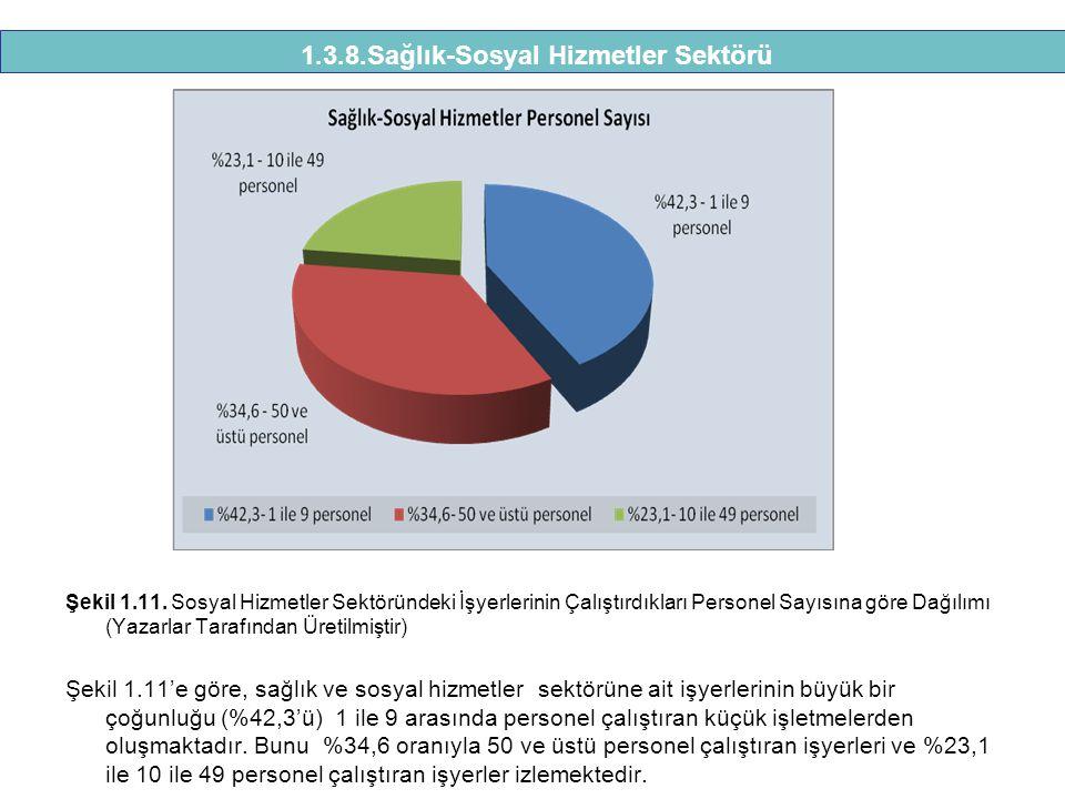 Şekil 1.11. Sosyal Hizmetler Sektöründeki İşyerlerinin Çalıştırdıkları Personel Sayısına göre Dağılımı (Yazarlar Tarafından Üretilmiştir) Şekil 1.11'e