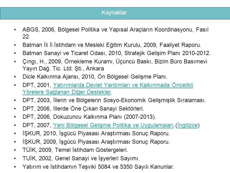 ABGS, 2006, Bölgesel Politika ve Yapısal Araçların Koordinasyonu, Fasıl 22. Batman İli İl İstihdam ve Mesleki Eğitim Kurulu, 2009, Faaliyet Raporu. Ba