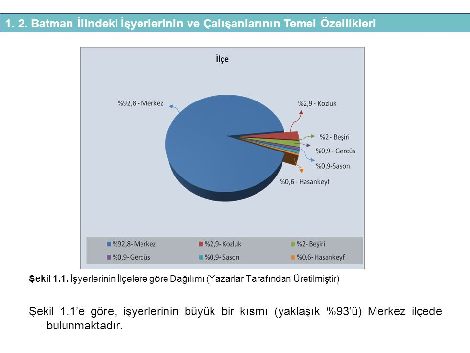 Şekil 1.1. İşyerlerinin İlçelere göre Dağılımı (Yazarlar Tarafından Üretilmiştir) Şekil 1.1'e göre, işyerlerinin büyük bir kısmı (yaklaşık %93'ü) Merk