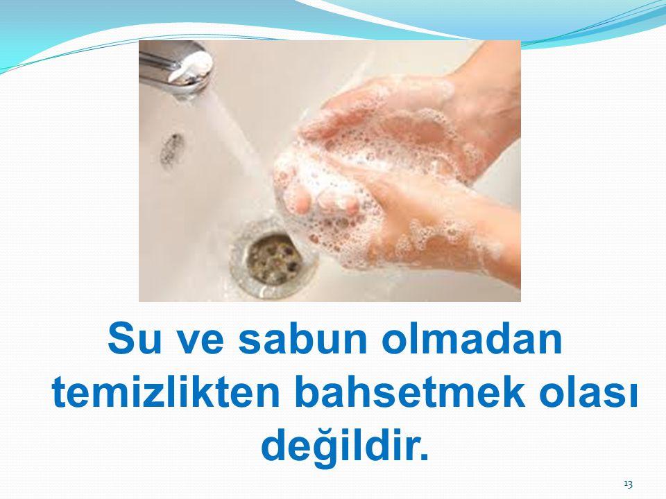 Su ve sabun olmadan temizlikten bahsetmek olası değildir. 13