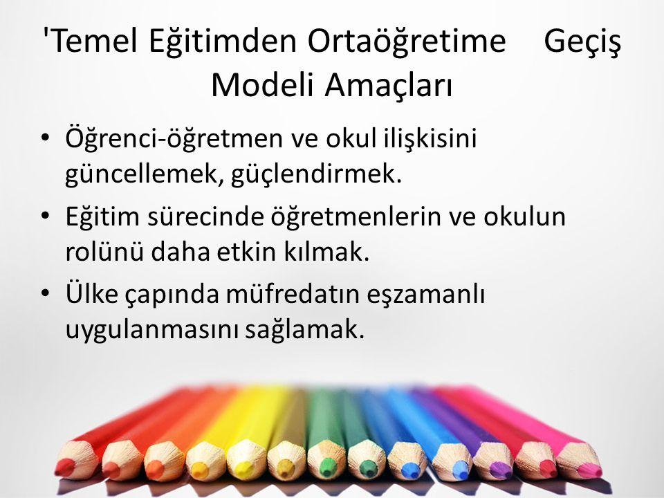 'Temel Eğitimden Ortaöğretime Geçiş Modeli Amaçları Öğrenci-öğretmen ve okul ilişkisini güncellemek, güçlendirmek. Eğitim sürecinde öğretmenlerin ve o