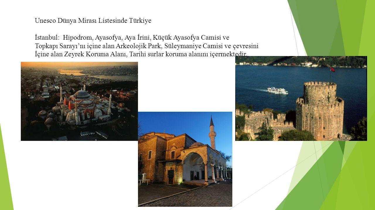 Unesco Dünya Mirası Listesinde Türkiye İstanbul: Hipodrom, Ayasofya, Aya İrini, Küçük Ayasofya Camisi ve Topkapı Sarayı'nı içine alan Arkeolojik Park, Süleymaniye Camisi ve çevresini İçine alan Zeyrek Koruma Alanı, Tarihi surlar koruma alanını içermektedir.