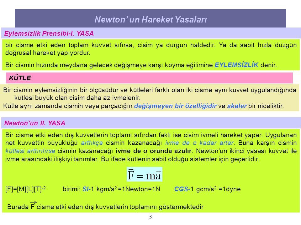 3 Newton' un Hareket Yasaları Eylemsizlik Prensibi-I. YASA bir cisme etki eden toplam kuvvet sıfırsa, cisim ya durgun haldedir. Ya da sabit hızla düzg