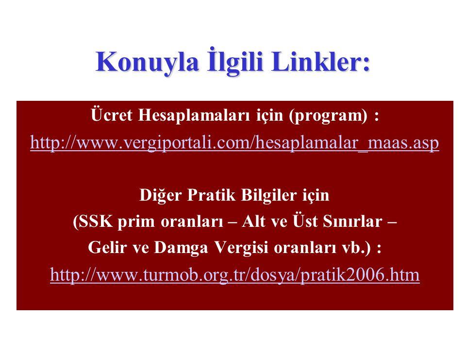 Konuyla İlgili Linkler: Ücret Hesaplamaları için (program) : http://www.vergiportali.com/hesaplamalar_maas.asp Diğer Pratik Bilgiler için (SSK prim or