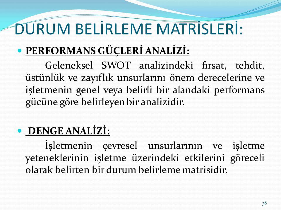 PERFORMANS GÜÇLERİ ANALİZİ: Geleneksel SWOT analizindeki fırsat, tehdit, üstünlük ve zayıflık unsurlarını önem derecelerine ve işletmenin genel veya b