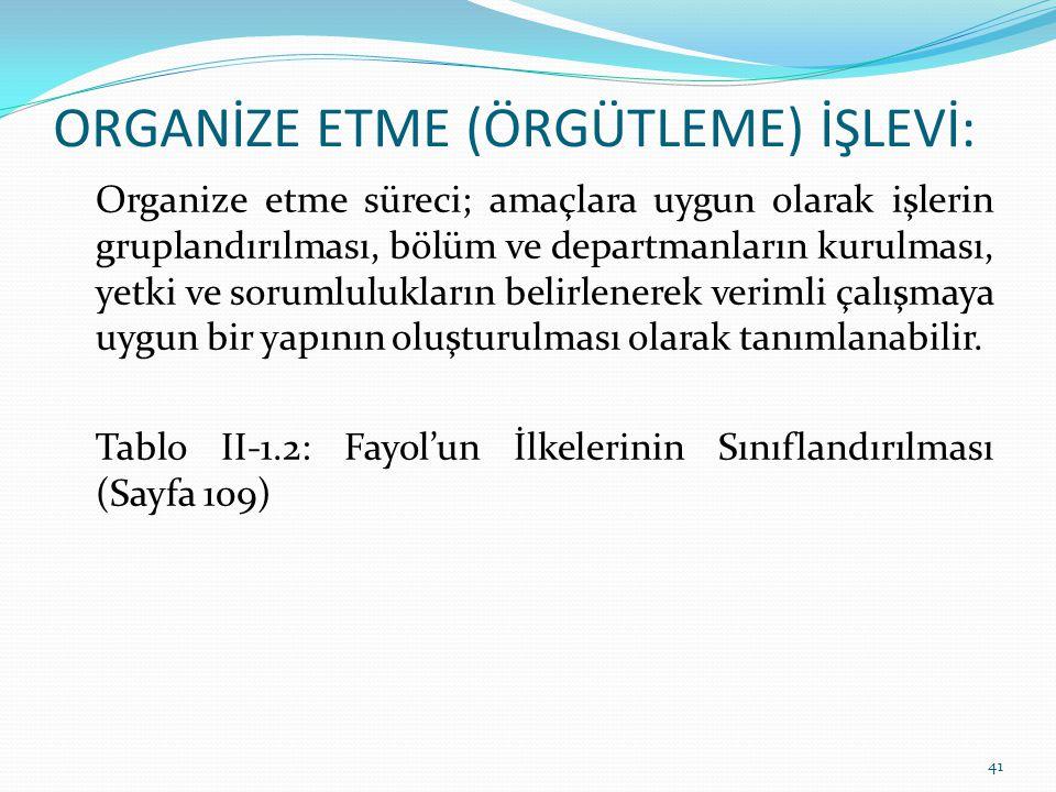 ORGANİZE ETME (ÖRGÜTLEME) İŞLEVİ: Organize etme süreci; amaçlara uygun olarak işlerin gruplandırılması, bölüm ve departmanların kurulması, yetki ve so