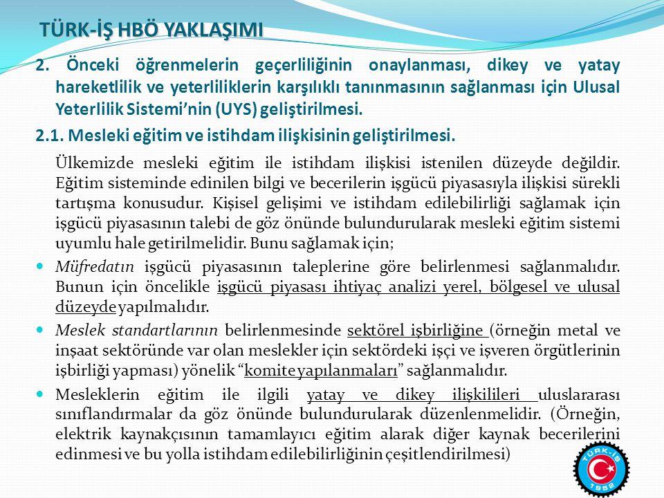 TÜRK-İŞ HBÖ YAKLAŞIMI 3.Ulusal seviyede ve il seviyesinde HBÖ sisteminin yapısına dair öneriler.