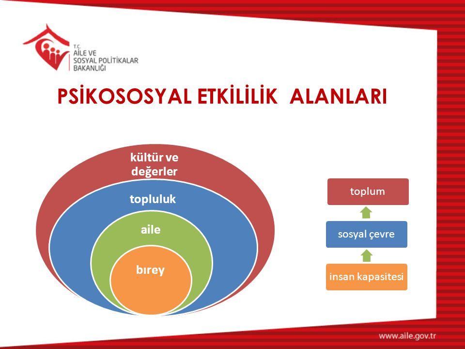 PSİKOSOSYAL ETKİLİLİK ALANLARI kültür ve değerler topluluk aile bırey toplum sosyal çevreinsan kapasitesi