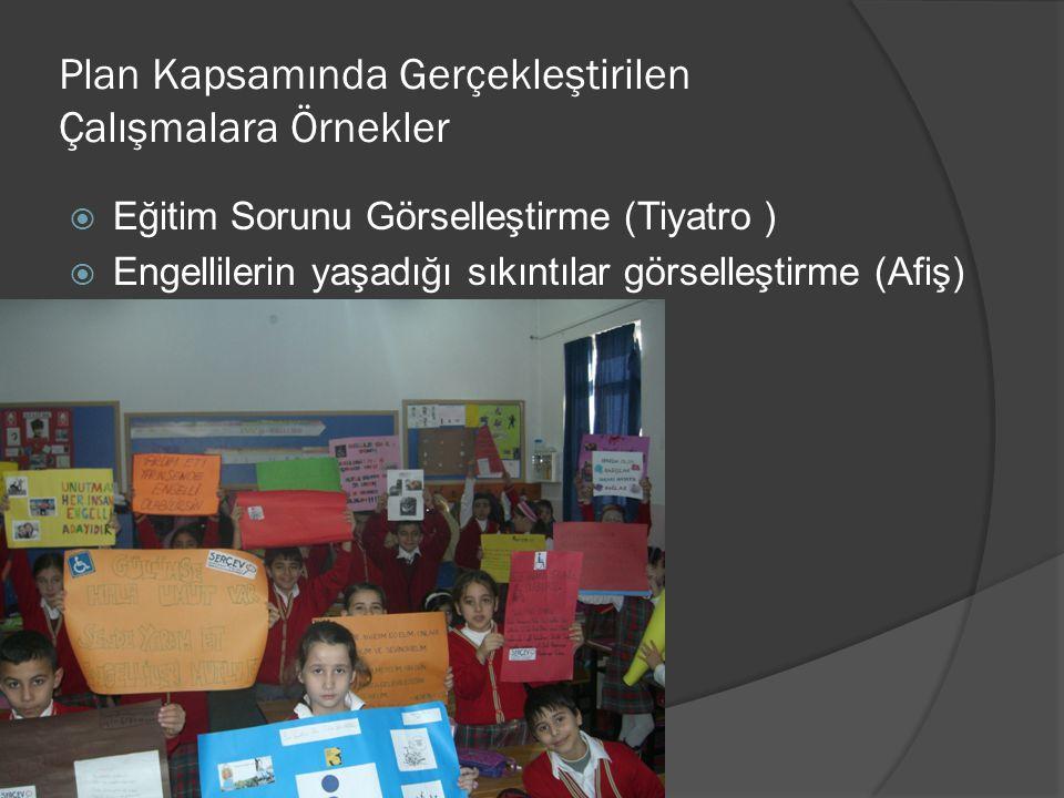 Plan Kapsamında Gerçekleştirilen Çalışmalara Örnekler  Eğitim Sorunu Görselleştirme (Tiyatro )  Engellilerin yaşadığı sıkıntılar görselleştirme (Afiş)