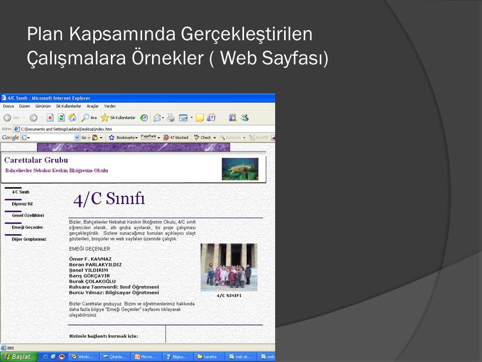 Plan Kapsamında Gerçekleştirilen Çalışmalara Örnekler ( Web Sayfası)