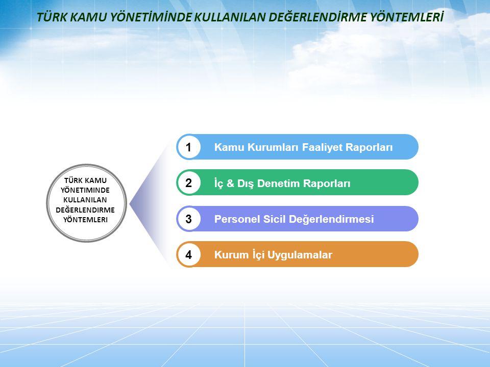 Kamu Kurumları Faaliyet Raporları 1 İç & Dış Denetim Raporları 2 Personel Sicil Değerlendirmesi 3 Kurum İçi Uygulamalar 4 TÜRK KAMU YÖNETIMINDE KULLAN