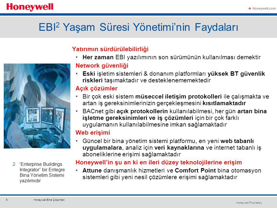 Honeywell Proprietary Honeywell.com  9Honeywell Bina Çözümleri EBI 2 Yaşam Süresi Yönetimi'nin Faydaları Yatırımın sürdürülebilirliği Her zaman EBI yazılımının son sürümünün kullanılması demektir Network güvenliği Eski işletim sistemleri & donanım platformları yüksek BT güvenlik riskleri taşımaktadır ve desteklenememektedir Açık çözümler Bir çok eski sistem müseccel iletişim protokolleri ile çalışmakta ve artan iş gereksinimlerinizin gerçekleşmesini kısıtlamaktadır BACnet gibi açık protokollerin kullanılabilmesi, her gün artan bina işletme gereksinimleri ve iş çözümleri için bir çok farklı uygulamanın kullanılabilmesine imkan sağlamaktadır Web erişimi Güncel bir bina yönetim sistemi platformu, en yeni web tabanlı uygulamalara, analiz için veri kaynaklarına ve internet tabanlı iş aboneliklerine erişimi sağlamaktadır Honeywell'in şu an ki en ileri düzey teknolojilerine erişim Attune danışmanlık hizmetleri ve Comfort Point bina otomasyon sistemleri gibi yeni nesil çözümlere erişimi sağlamaktadır 2.