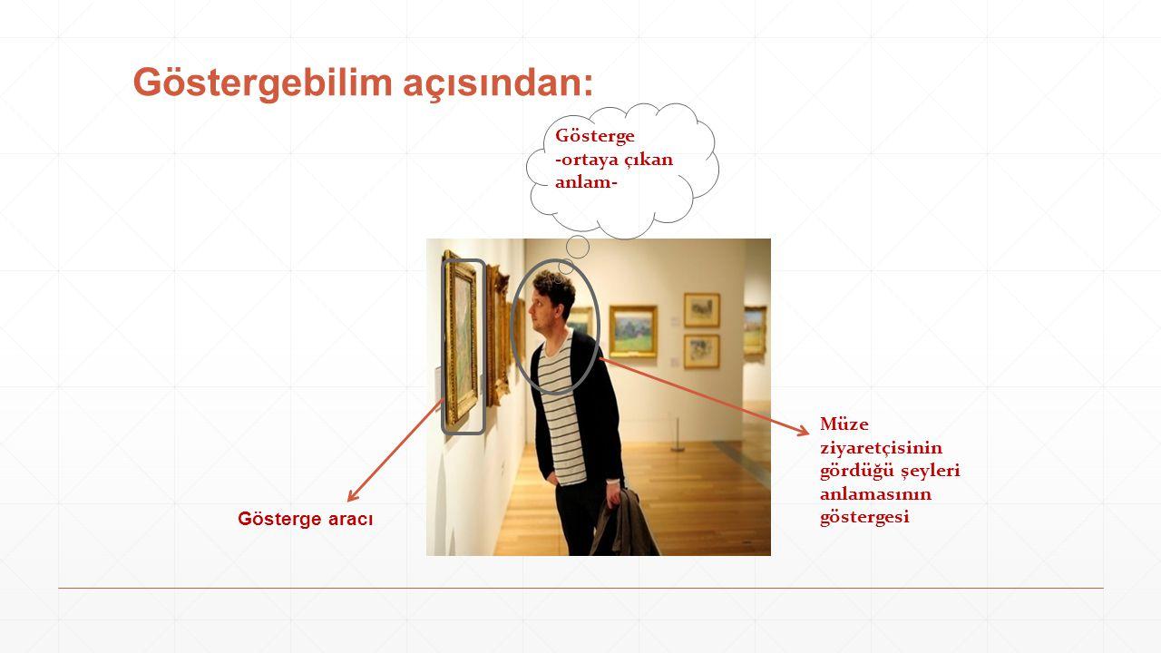 Göstergebilim açısından: Müze ziyaretçisinin gördüğü şeyleri anlamasının göstergesi Gösterge aracı Gösterge -ortaya çıkan anlam-