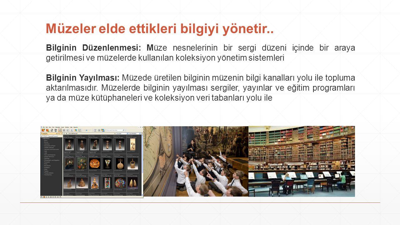 Müzeler elde ettikleri bilgiyi yönetir.. Bilginin Düzenlenmesi: Müze nesnelerinin bir sergi düzeni içinde bir araya getirilmesi ve müzelerde kullanıla