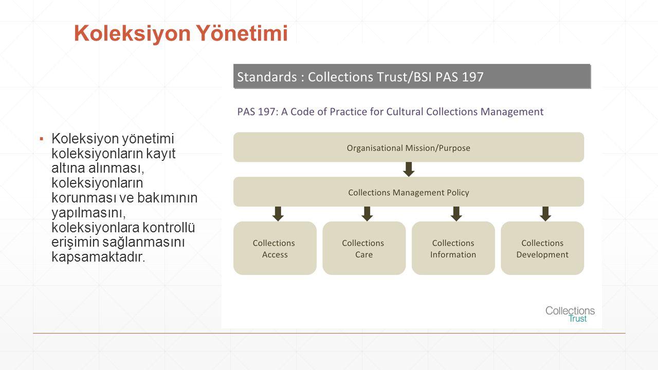 Koleksiyon Yönetimi ▪Koleksiyon yönetimi koleksiyonların kayıt altına alınması, koleksiyonların korunması ve bakımının yapılmasını, koleksiyonlara kon