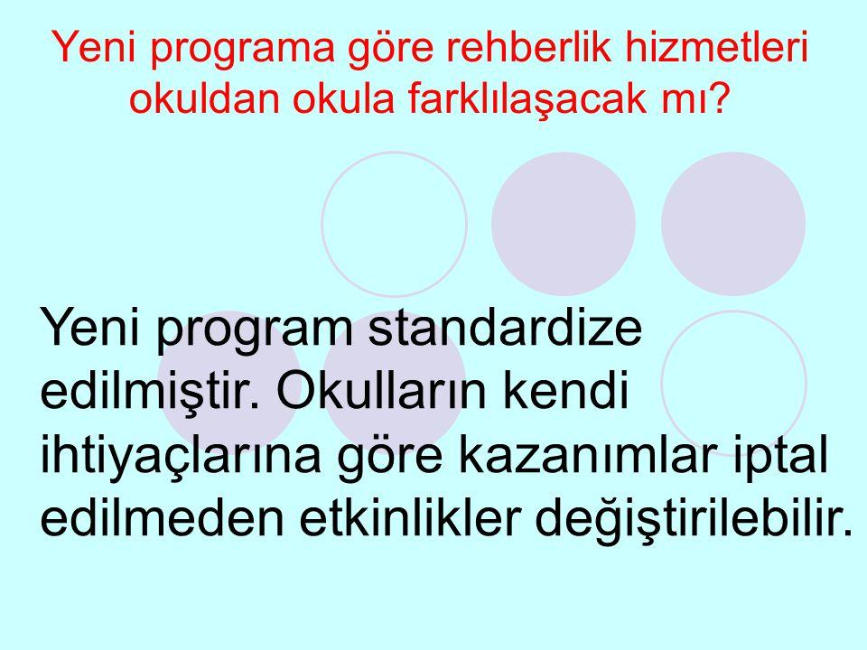 Yeni programa göre rehberlik hizmetleri okuldan okula farklılaşacak mı? Yeni program standardize edilmiştir. Okulların kendi ihtiyaçlarına göre kazanı