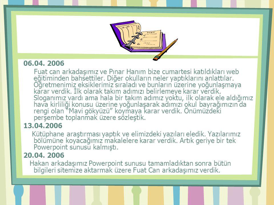 06.04. 2006 Fuat can arkadaşımız ve Pınar Hanım bize cumartesi katıldıkları web eğitiminden bahsettiler. Diğer okulların neler yaptıklarını anlattılar