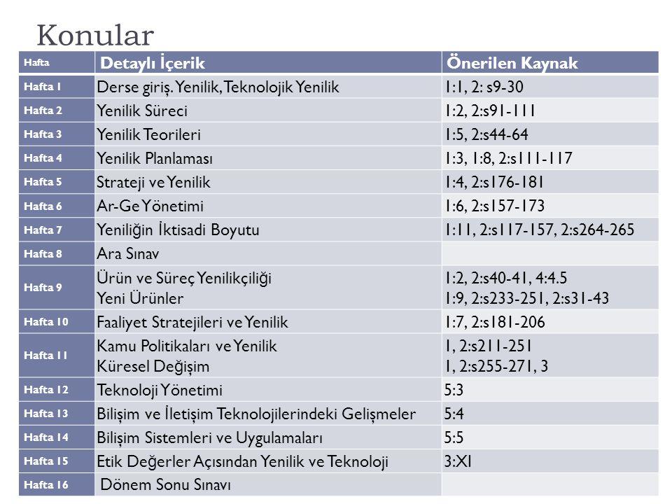 Önerilen Kaynaklar Aksaray Üniv., İ şletme Bölümü, YNT 5144 Anahtar: 1:1, 2:s9-40 => Tidd & Bessant'da Konu 1.