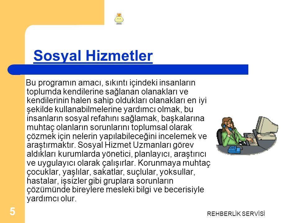 REHBERLİK SERVİSİ 6 Uluslararası İlişkiler Bu programda dünya devletlerinin oluşturduğu uluslararası sistemin tarihi, geçirdiği evreler, sistemin siyasi, ekonomik ve hukuksal yapısı, işleyişi gibi konularda, Türkiye nin bu sistem içinde yerine ve dış ilişkilerine özel ağırlık verilerek eğitim yapılır.