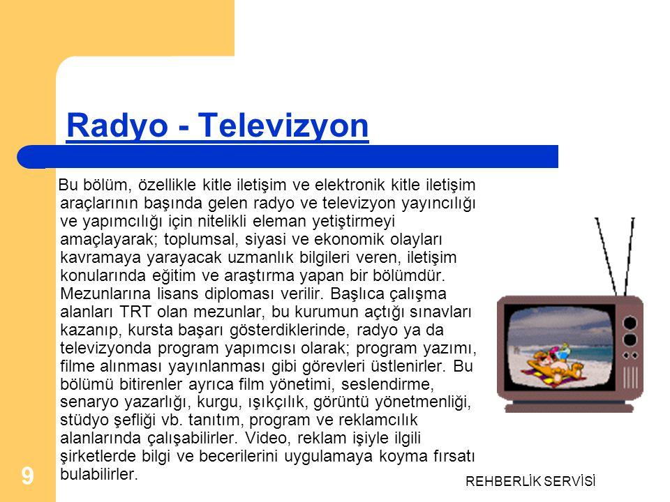 REHBERLİK SERVİSİ 9 Radyo - Televizyon Bu bölüm, özellikle kitle iletişim ve elektronik kitle iletişim araçlarının başında gelen radyo ve televizyon y