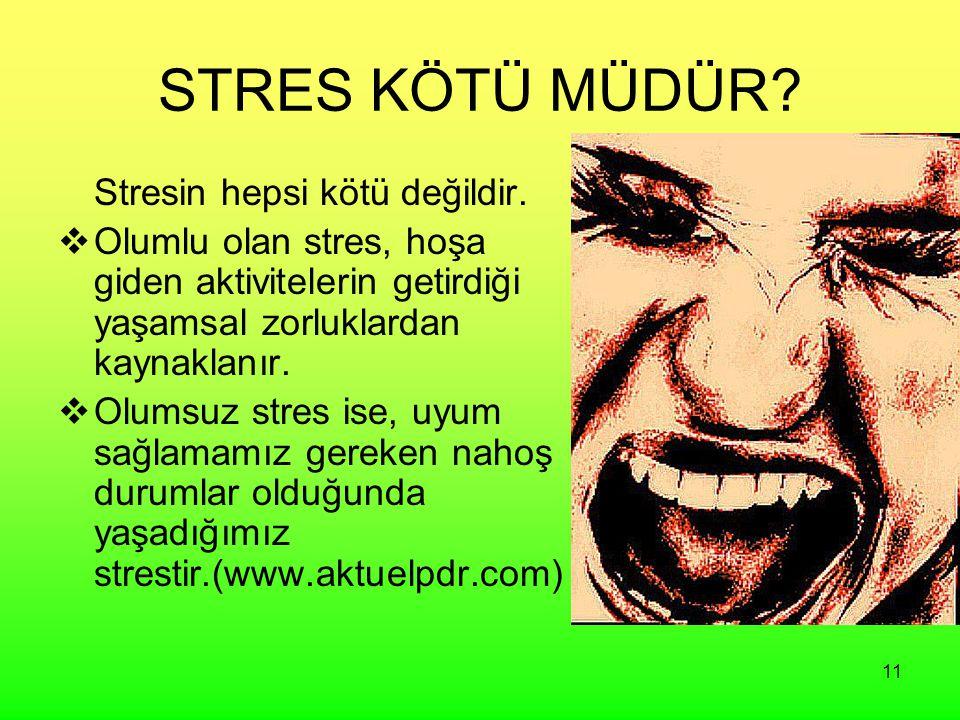 11 STRES KÖTÜ MÜDÜR? Stresin hepsi kötü değildir.  Olumlu olan stres, hoşa giden aktivitelerin getirdiği yaşamsal zorluklardan kaynaklanır.  Olumsuz