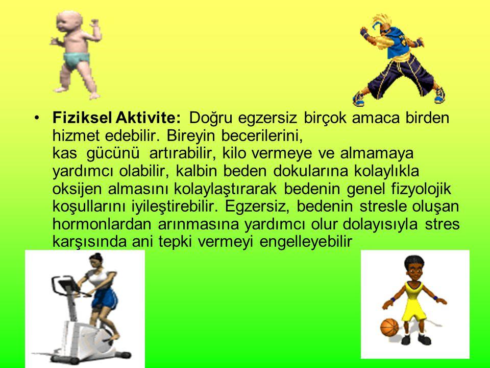 15 Fiziksel Aktivite: Doğru egzersiz birçok amaca birden hizmet edebilir. Bireyin becerilerini, kas gücünü artırabilir, kilo vermeye ve almamaya yardı