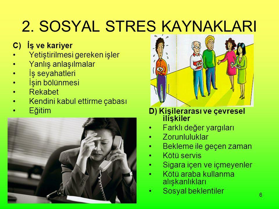 6 2. SOSYAL STRES KAYNAKLARI C) İş ve kariyer Yetiştirilmesi gereken işler Yanlış anlaşılmalar İş seyahatleri İşin bölünmesi Rekabet Kendini kabul ett