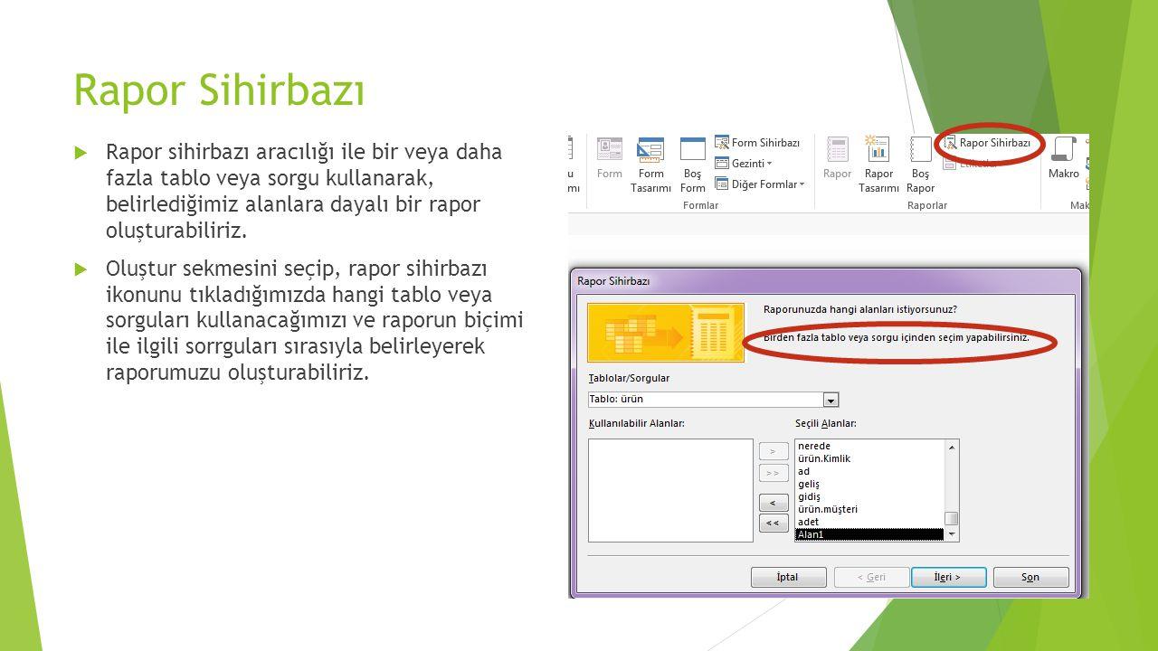 Baskı Ekranı Özellikleri Baskı önizleme ekranında raporumuzla ilgili kağıt ayarlarını yapıp, doğrudan baskıya gönderebileceğimiz gibi Raporumuzu excel, Word programlarına uygun olarak dışa aktarabiliriz.