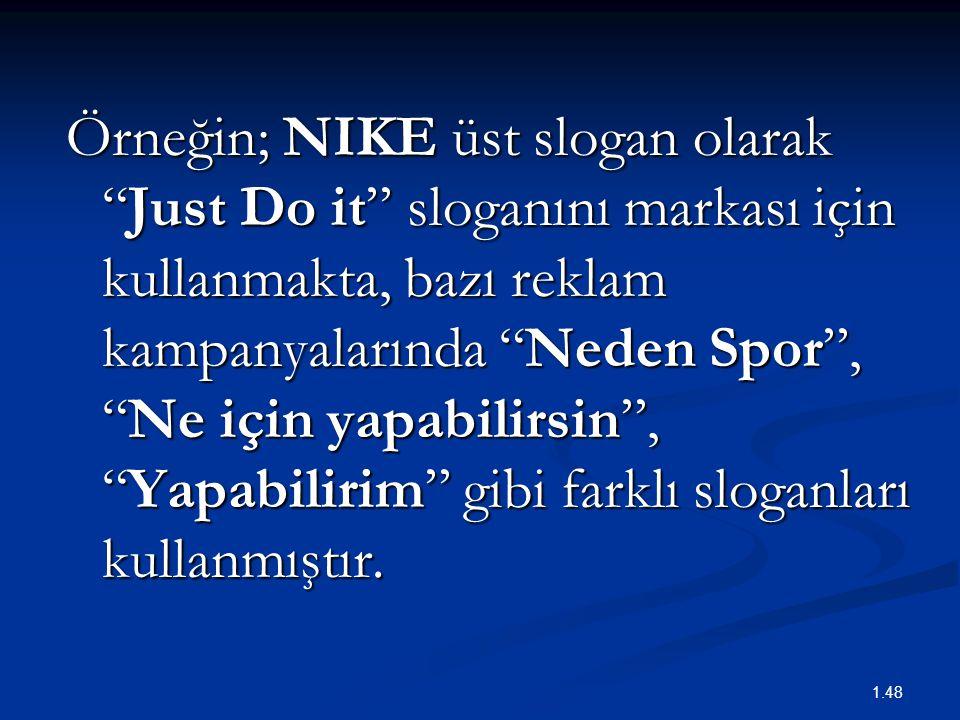 """Örneğin; NIKE üst slogan olarak """"Just Do it"""" sloganını markası için kullanmakta, bazı reklam kampanyalarında """"Neden Spor"""", """"Ne için yapabilirsin"""", """"Ya"""