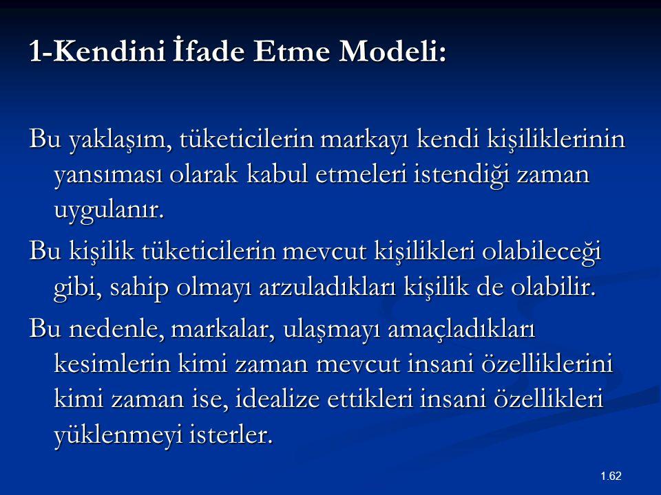 1-Kendini İfade Etme Modeli: Bu yaklaşım, tüketicilerin markayı kendi kişiliklerinin yansıması olarak kabul etmeleri istendiği zaman uygulanır. Bu kiş