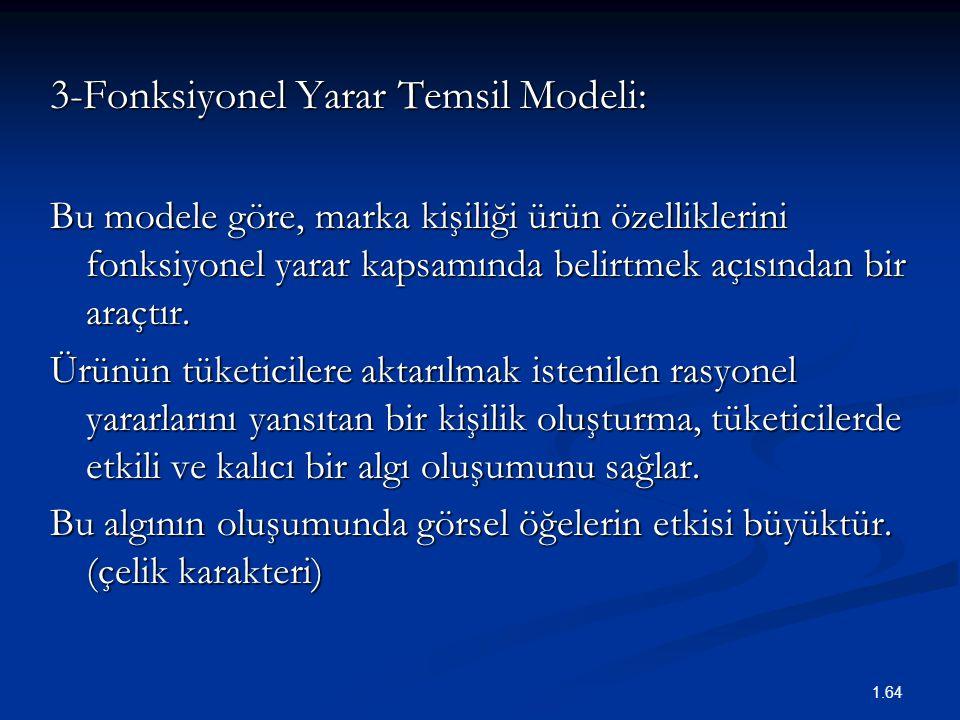 3-Fonksiyonel Yarar Temsil Modeli: Bu modele göre, marka kişiliği ürün özelliklerini fonksiyonel yarar kapsamında belirtmek açısından bir araçtır. Ürü