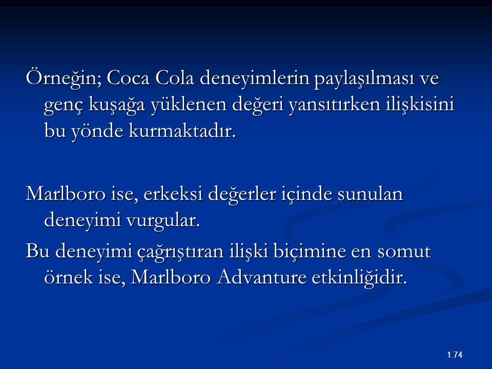 Örneğin; Coca Cola deneyimlerin paylaşılması ve genç kuşağa yüklenen değeri yansıtırken ilişkisini bu yönde kurmaktadır. Marlboro ise, erkeksi değerle