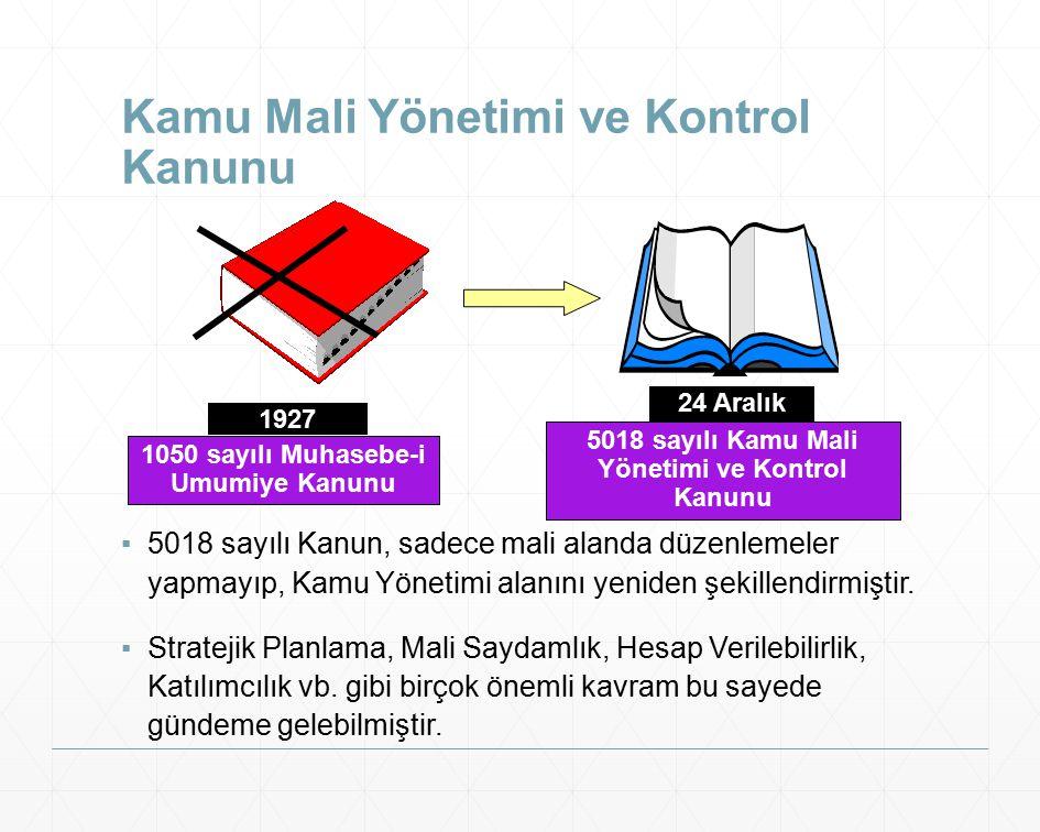 Kamu Mali Yönetimi ve Kontrol Kanunu ▪5018 sayılı Kanun, sadece mali alanda düzenlemeler yapmayıp, Kamu Yönetimi alanını yeniden şekillendirmiştir. ▪S
