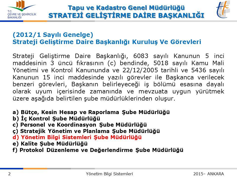 2 Yönetim Bilgi Sistemleri 2015– ANKARA Tapu ve Kadastro Genel Müdürlüğü STRATEJİ GELİŞTİRME DAİRE BAŞKANLIĞI (2012/1 Sayılı Genelge) Strateji Geliştirme Daire Başkanlığı Kuruluş Ve Görevleri Strateji Geliştirme Daire Başkanlığı, 6083 sayılı Kanunun 5 inci maddesinin 3 üncü fıkrasının (c) bendinde, 5018 sayılı Kamu Mali Yönetimi ve Kontrol Kanununda ve 22/12/2005 tarihli ve 5436 sayılı Kanunun 15 inci maddesinde yazılı görevler ile Başkanca verilecek benzeri görevleri, Başkanın belirleyeceği iş bölümü esasına dayalı olarak uyum içerisinde zamanında ve mevzuata uygun yürütmek üzere aşağıda belirtilen şube müdürlüklerinden oluşur.