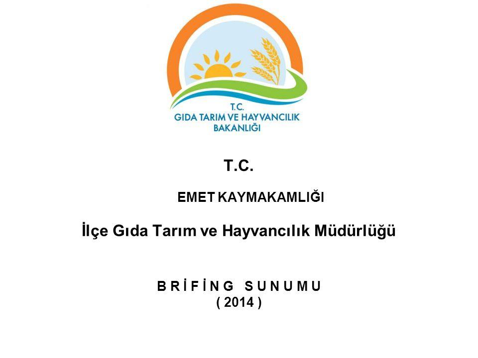 T.C. EMET KAYMAKAMLIĞI İlçe Gıda Tarım ve Hayvancılık Müdürlüğü B R İ F İ N G S U N U M U ( 2014 )