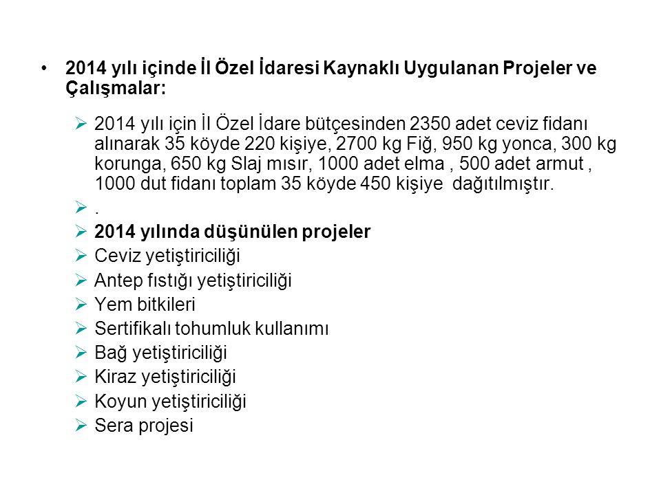 2014 yılı içinde İl Özel İdaresi Kaynaklı Uygulanan Projeler ve Çalışmalar:  2014 yılı için İl Özel İdare bütçesinden 2350 adet ceviz fidanı alınarak