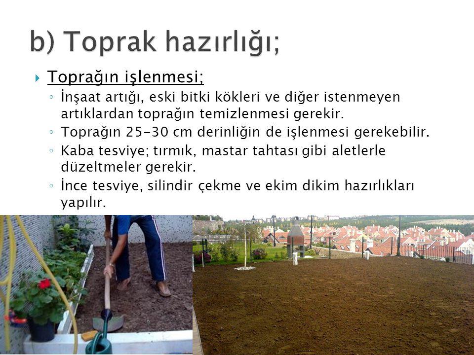  Toprağın işlenmesi; ◦ İnşaat artığı, eski bitki kökleri ve diğer istenmeyen artıklardan toprağın temizlenmesi gerekir. ◦ Toprağın 25-30 cm derinliği