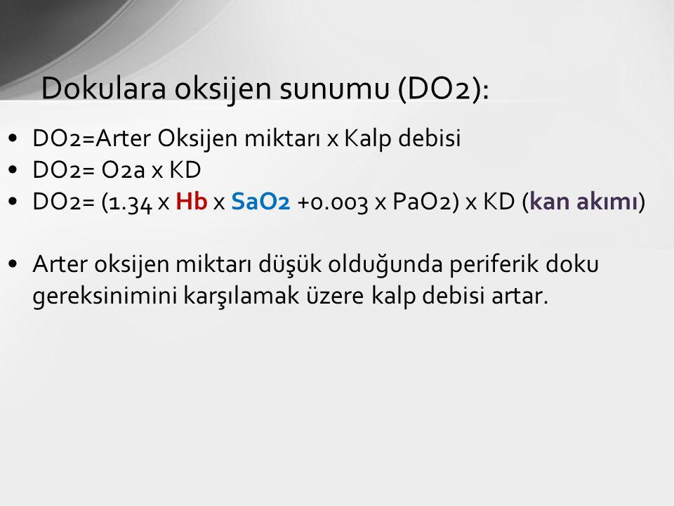 DO2=Arter Oksijen miktarı x Kalp debisi DO2= O2a x KD DO2= (1.34 x Hb x SaO2 +0.003 x PaO2) x KD (kan akımı) Arter oksijen miktarı düşük olduğunda per