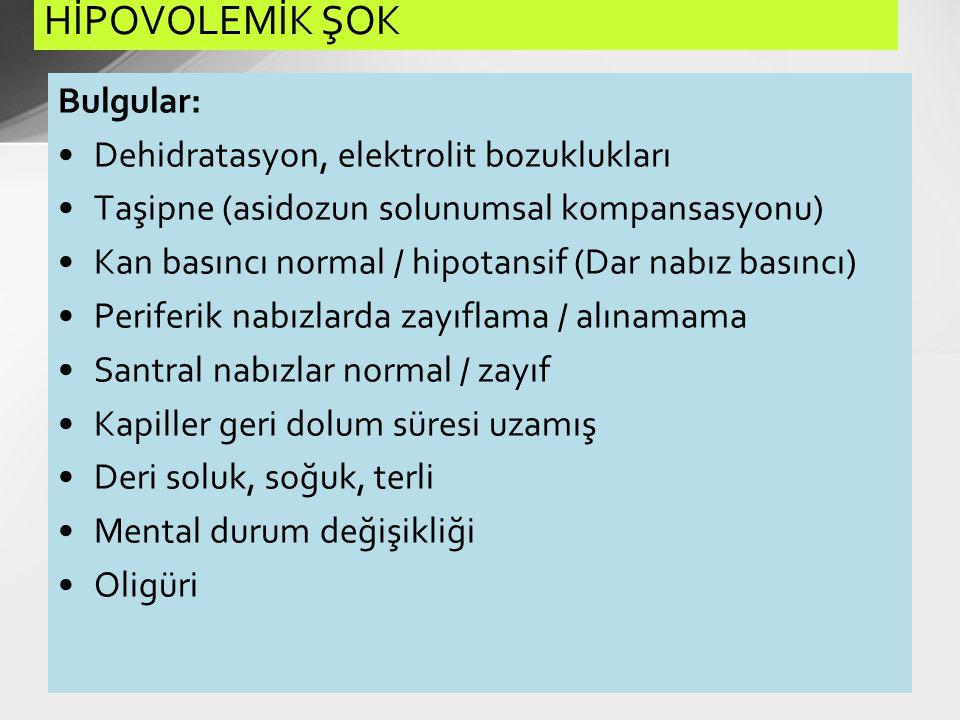 Bulgular: Dehidratasyon, elektrolit bozuklukları Taşipne (asidozun solunumsal kompansasyonu) Kan basıncı normal / hipotansif (Dar nabız basıncı) Perif