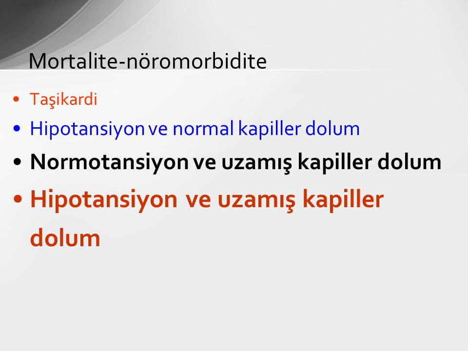 Taşikardi Hipotansiyon ve normal kapiller dolum Normotansiyon ve uzamış kapiller dolum Hipotansiyon ve uzamış kapiller dolum Mortalite-nöromorbidite