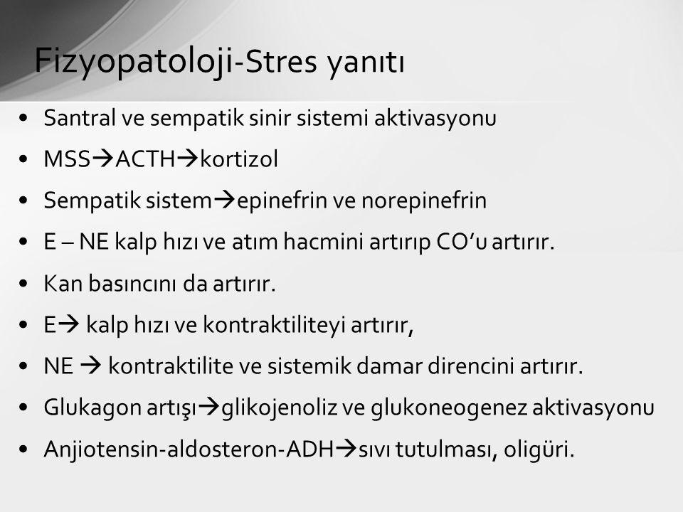 Santral ve sempatik sinir sistemi aktivasyonu MSS  ACTH  kortizol Sempatik sistem  epinefrin ve norepinefrin E – NE kalp hızı ve atım hacmini artır